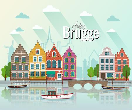 Vector illustration of Bruges. Old european city.