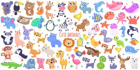 Cute cartoon animals. flat design Illustration