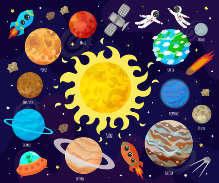 Ilustración de vector de espacio, universo. Planetas de dibujos animados, asteroides, cometas, cohetes.