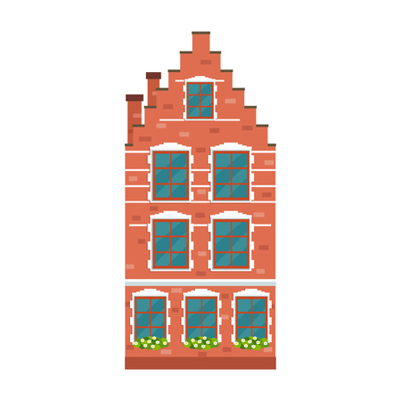 Old european house. Vector flat illustration.