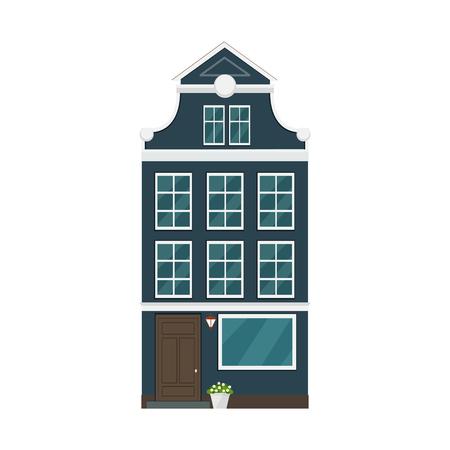 Old european house. Vector flat illustration. Illustration