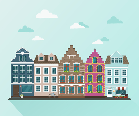 European town. Vector flat illustration 向量圖像
