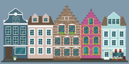 Set of european colorful old houses