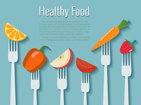 Vegetables on forks Healthy food vector illustration.