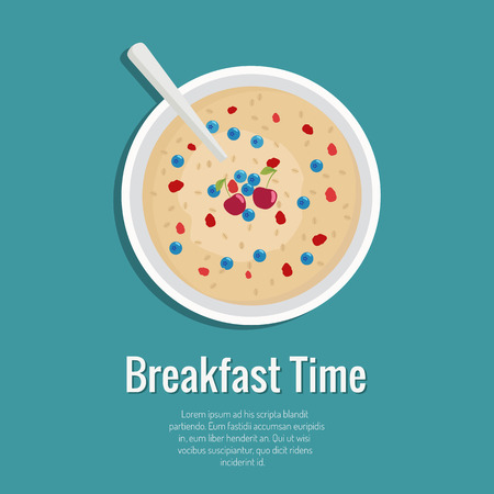 Vector illustration of oatmeal with berries