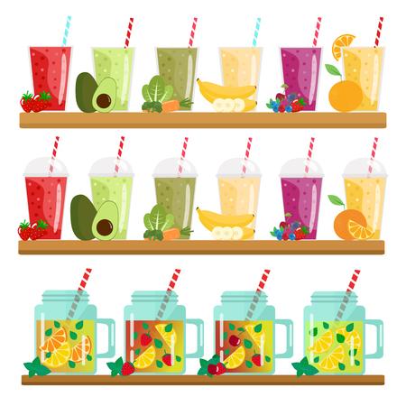 Cartoon smoothies and lemonades in jars