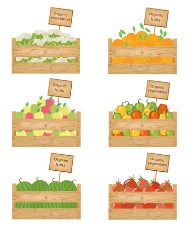 Wooden boxes of vegetables and fruits. Organic fruits and vegetables Vector illustration. Vecteurs