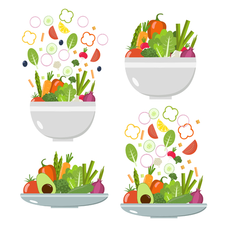 Vegetable plates and bowls. Slices of vegetables Ilustrace