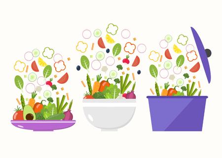 Assiette de légumes. Bol de légumes. Tranches de légumes Design plat. Vecteurs