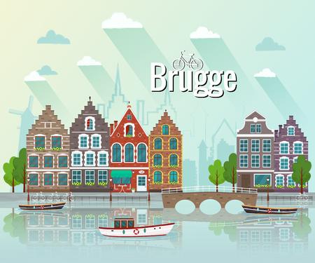 Vector illustration of Bruges. Old european city. Illustration