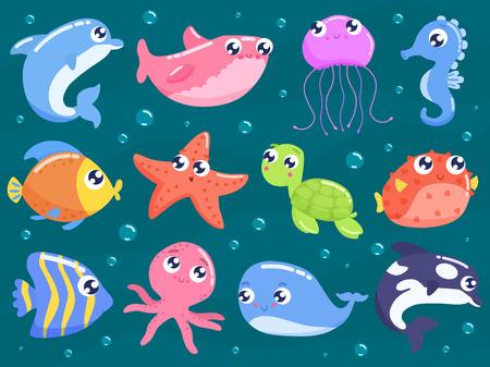 Set di simpatici animali marini