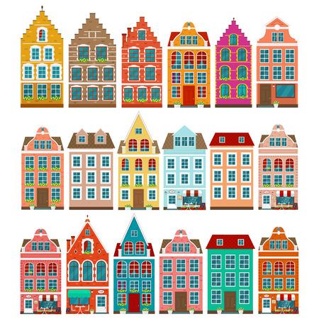 Set europäischer bunter alter Häuser Vektorgrafik
