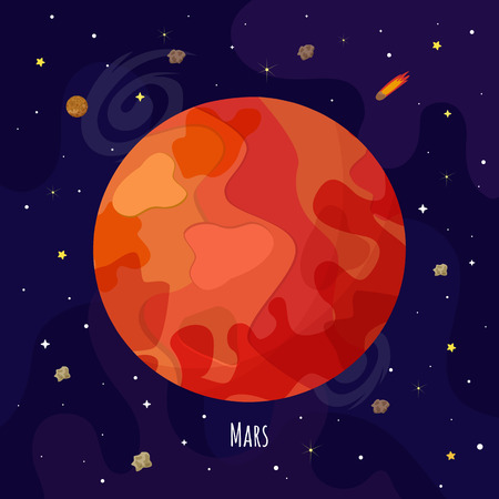 Vector illustration of Mars planet. Kids illustration.