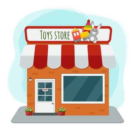 Toys store flat vector illustration Ilustrace