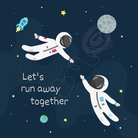Space love vector illustration. Boy astronaut and girl astro naut fly to each other.  イラスト・ベクター素材