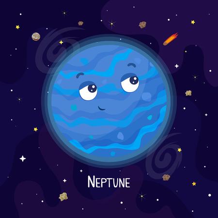 Cute cartoon Neptune planet character. Space vector illustration Illustration