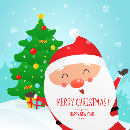 Christmas and Happy New Year vector illustration. Cute Santa Claus and Christmas tree.
