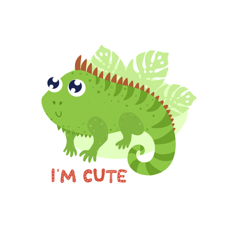 Cute iguana vector illustration. Im cute card, print Çizim
