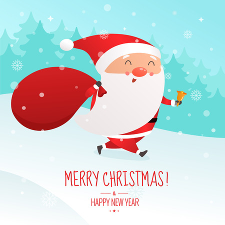 Christmas vector illustration. Santa Claus is running with big sack of presents.