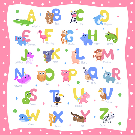 Cute animal alphabet A-Z vector illustration.