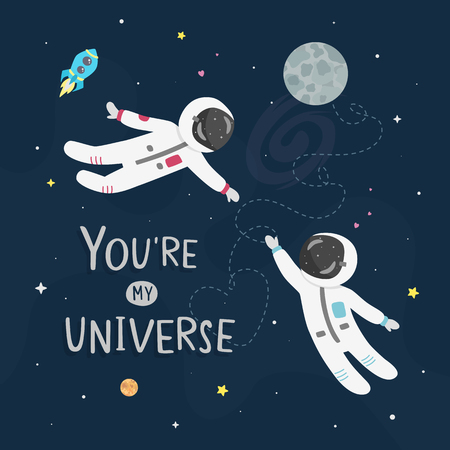 Space love vector illustration. Boy astronaut and girl astronaut fly to each other. Youre my universe card.