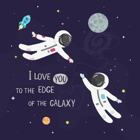 Weltraumliebe-Vektorillustration. Jungenastronaut und Mädchenastronaut fliegen zueinander. Ich liebe dich bis an den Rand der Galaxiekarte.