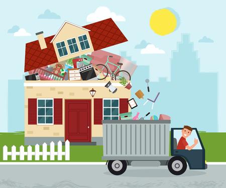 Pojęcie nadmiernego konsumpcjonizmu. Dom pęka w szwach. Wyrzucanie rzeczy z domu. Usuwanie śmieci. Ilustracja wektorowa.
