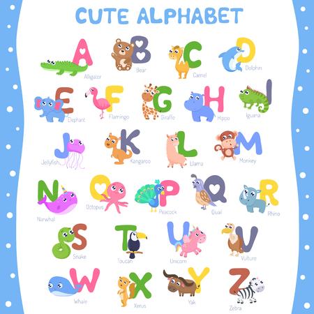 Cute animal alphabet A-Z vector illustration.
