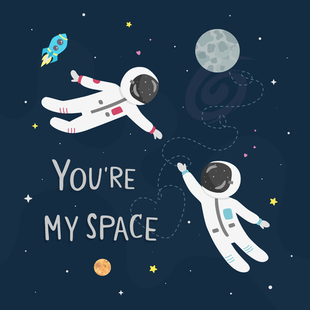 Space love vector illustration. Boy astronaut and girl astronaut fly to each other. You're my space card. Vettoriali