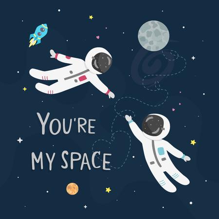 Weltraumliebe-Vektorillustration. Jungenastronaut und Mädchenastronaut fliegen zueinander. Du bist meine Weltraumkarte.