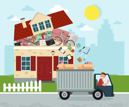 Moving house. Staff moving out of the house to boxes in truck. Vector flat illustration. Vettoriali