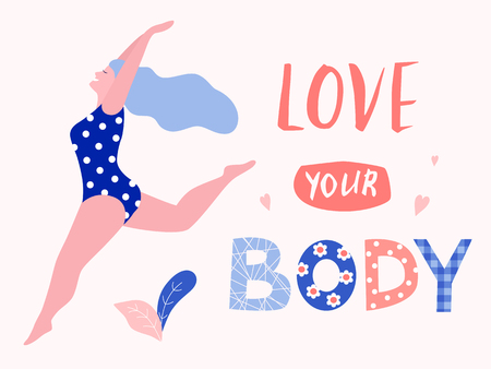 Love your body card, poster. Beautiful plus size woman vector flat illustration.
