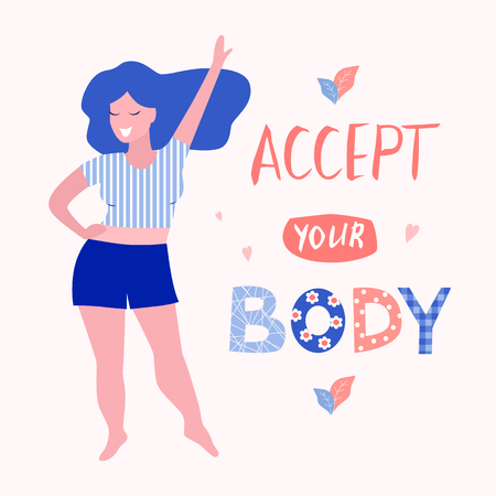 Accept your body card, poster. Beautiful woman vector flat illustration.