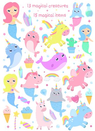 Magical creatures. Narwhal, unicorn mermaid,bunny mermaid, cat mermaid, pegasus, magical items vector illustration Çizim