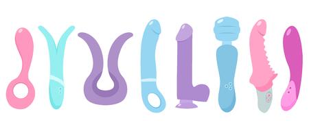 Sex toys. Vector flat illustration.