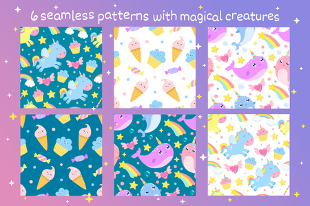 Set of vector seamless patterns with magical creatures