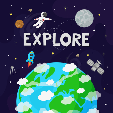 Vector illustration of space. Kids illustration.