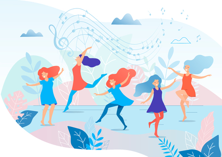 Dancing women vector illustration.