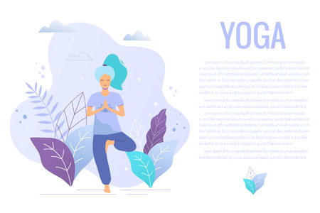 Woman in tree pose. Yoga girl in a park vector trendy illustration.