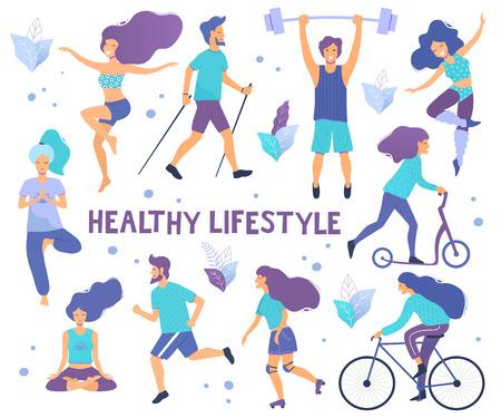 Gesunder Lebensstil. Verschiedene körperliche Aktivitäten: Laufen, Rollschuhe, Tanzen, Bodybuilding, Yoga, Fitness, Roller, Nordic Walking. Flache Vektorillustration. Vektorgrafik
