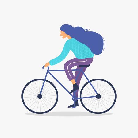 Frau, die Fahrrad in der trendigen Vektorillustration des Parks fährt. Vektorgrafik