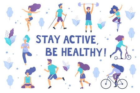 Gesunder Lebensstil. Verschiedene körperliche Aktivitäten: Laufen, Rollschuhe, Bodybuilding, Yoga, Fitness, Roller, Nordic Walking. Flache Vektorillustration.