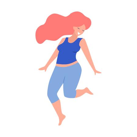Beautiful plus size woman vector flat illustration.