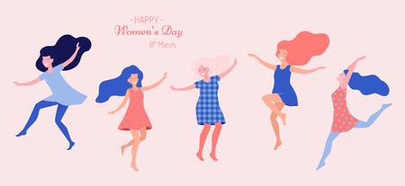Ilustración de vector de feliz día de la mujer. Hermosas mujeres bailando. Ilustración de vector