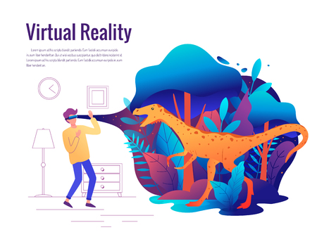 Man experiencing virtual reality game wearing vr goggles. Vector illustration. Ilustração