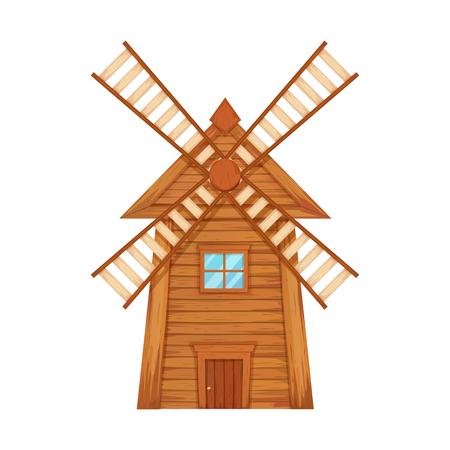 Wooden windmill vector illustration.