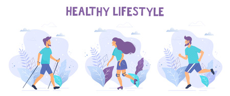 Healthy lifestyle vector illustrations. Nordic walking, running, roller skates