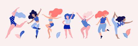 Happy dancing diverse women vector illustration.