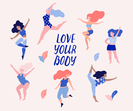 Happy dancing diverse women vector illustration. Love your body. Ilustrace