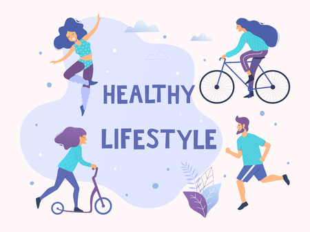Healthy active lifestyle vector illustration. Different physical activities: running, aerobics, scooter, bicycle.
